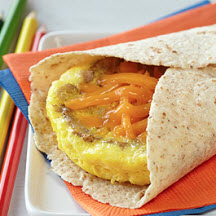 Microwave Egg, Sausage and Cheddar Breakfast Tortilla