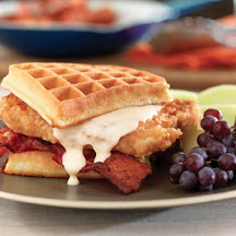 "Pork Chop and Waffle Sandwiches with Maple ""Gravy"""