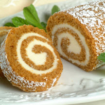 Pumpkin Cake Roll with Cream Cheese Filling