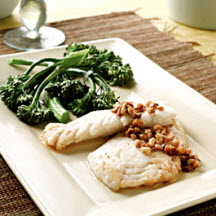 Alaska Pollock with Spicy Lemon-Walnut Butter Sauce