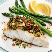 Almond and Asparagus Crusted Grouper