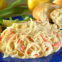 Creamy Angel Hair Pasta with Lemon Shrimp Recipe at CooksRecipes.com