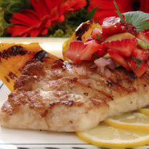 Pan-Grilled Red Snapper with Avocado-Strawberry Salsa