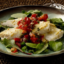 Pollock with Three Pepper Salsa