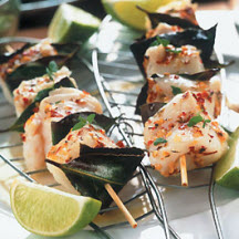 Seafood Kabobs with Bay Leaves and a Fiery Glaze
