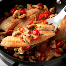 Tilapia with Mushrooms, Olives and Tomatoes