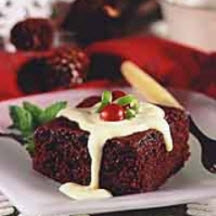 Chocolate Cake Squares with Eggnog Sauce