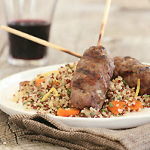 Ground American Lamb Kebabs with Dried Fruit-Mint Quinoa Couscous