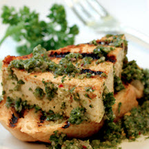 Grilled Tofu with Chimichurri Sauce and Grilled Garlic Bread