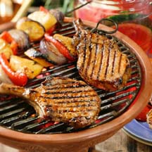 Caribbean Barbecued Pork Chops with Vegetable Kabobs