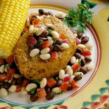 Pork Chops with Black and White Salsa