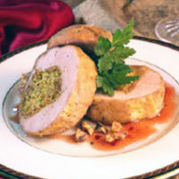 Roasted Pork Tenderloin with Walnut Curry Stuffing and Red Currant Glaze