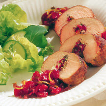Southwestern Stuffed Pork with Spicy Cranberry Compote