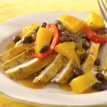 Caribbean Chicken with Pineapple-Black Bean Sauce