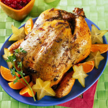 Grilled Whole Chicken with Starfruit Cranberry Sauce