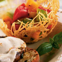Heirloom Tomato Salad in Parmesan Baskets