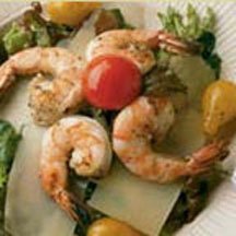 Jerked Prawns Salad with Parmesan Dressing