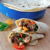 Grilled Mushroom and Chickpea Wrap with Basil