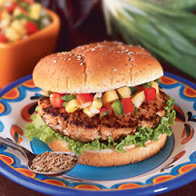 Southwestern Grilled Turkey Burgers with Pineapple Pico de Gallo