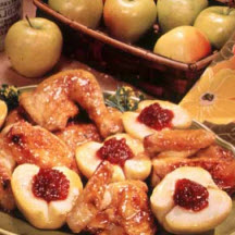 Poached Apples with Cranberry Sauce