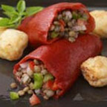 Stuffed Piquillo Peppers with Lentils and Blue Cheese Croutons