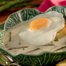 Asparagus Soup with Fried Egg Baguette