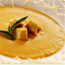 Gruyère Cheese and Sweet Potato Soup with Maple Brioche Croutons
